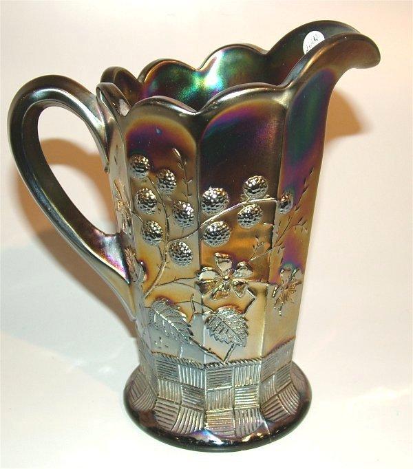 15446: CARNIVAL GLASS AMETHYST RASPBERRY MILK PITCHER,