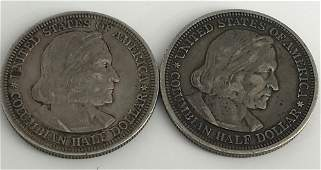 TWO COLUMBIAN EXPOSITION HALF DOLLAR COINS