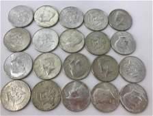 TWENTY 40% SILVER KENNEDY HALF DOLLAR COINS