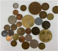LOT OF ASSORTED US AND FOREIGN COINS  TOKENS