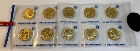 TEN U.S. $50.00 GOLD BUFFALO COINS