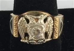 VINTAGE 10KT YELLOW GOLD MENS MASONIC RING