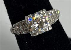 VINTAGE PLATINUM AND DIAMOND ENGAGEMENT RING ~ SIZE 6,
