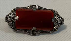 STERLING SILVER ART DECO AND CARNELIAN PIN