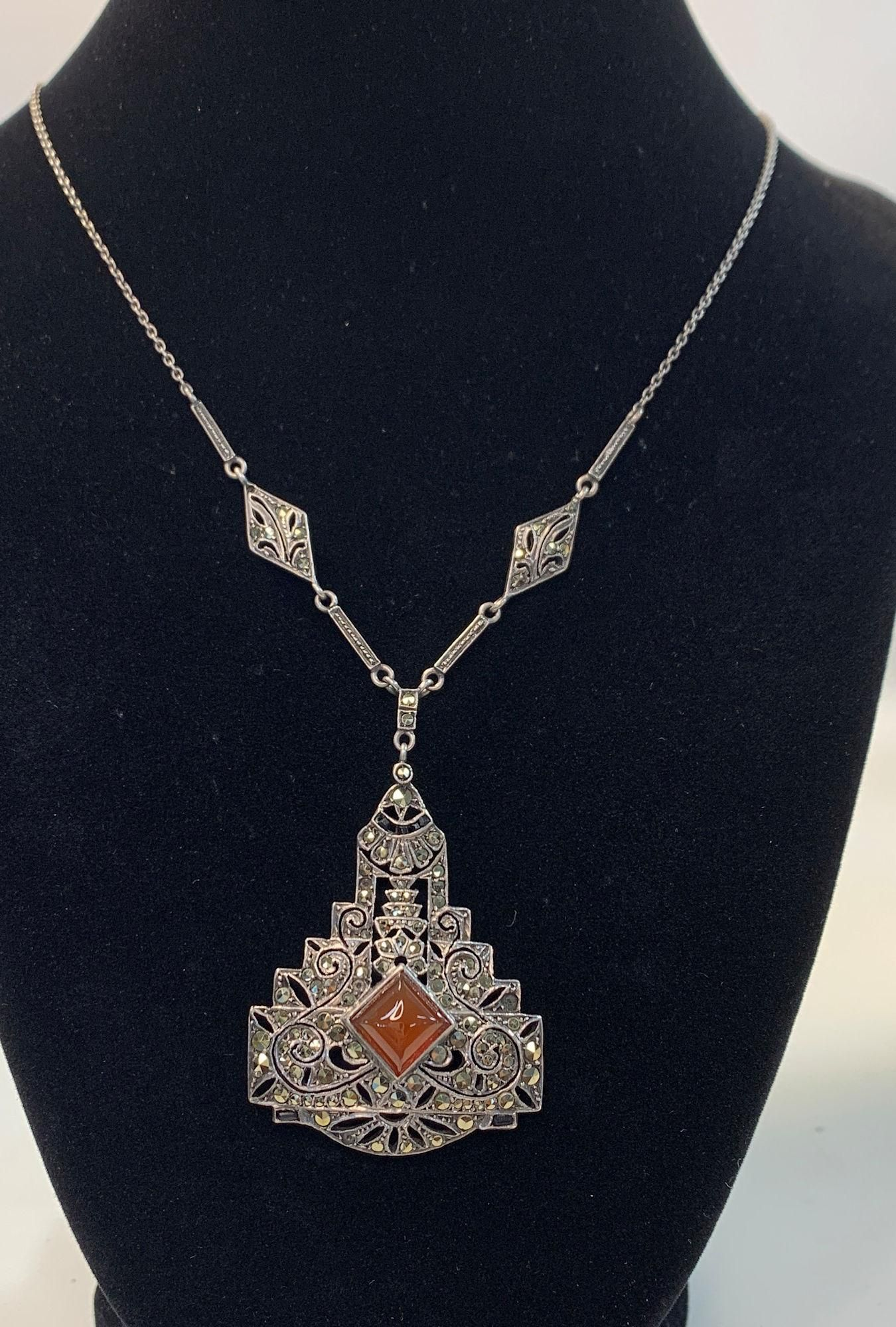 ART DECO  STERLING SILVER MARCASITE AND CARNELIAN