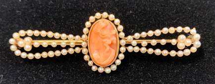 VINTAGE 14KT YELLOW GOLD AND SEED PEARL CAMEO BAR PIN