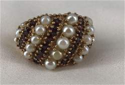 VINTAGE 14KT YELLOW GOLD, PEARL AND GARNET RING, SIZE