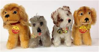 """(4) SMALL STEIFF DOGS. INCLUDES 4"""" TALL MOHAIR STANDING"""