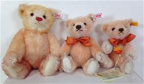 """(3) STEIFF APRICOT MOHAIR TEDDY BEARS. INCLUDES 8 1/2"""","""