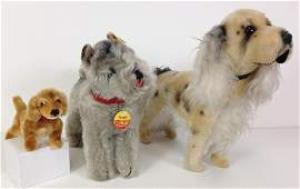 """(3) MOHAIR DOGS. INCLUDES TWO STEIFF: """"TESSIE"""""""