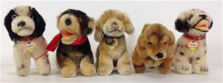 """(5) SMALL STEIFF MOHAIR DOGS. INCLUDES """"COCKIE"""" COCKER"""