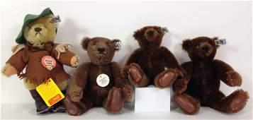 (4) STEIFF TEDDY BEARS. INCLUDES THREE DARK BROWN