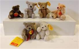 LOT (6) STEIFF MINI ORIGINAL MOHAIR TEDDY BEARS. ALL