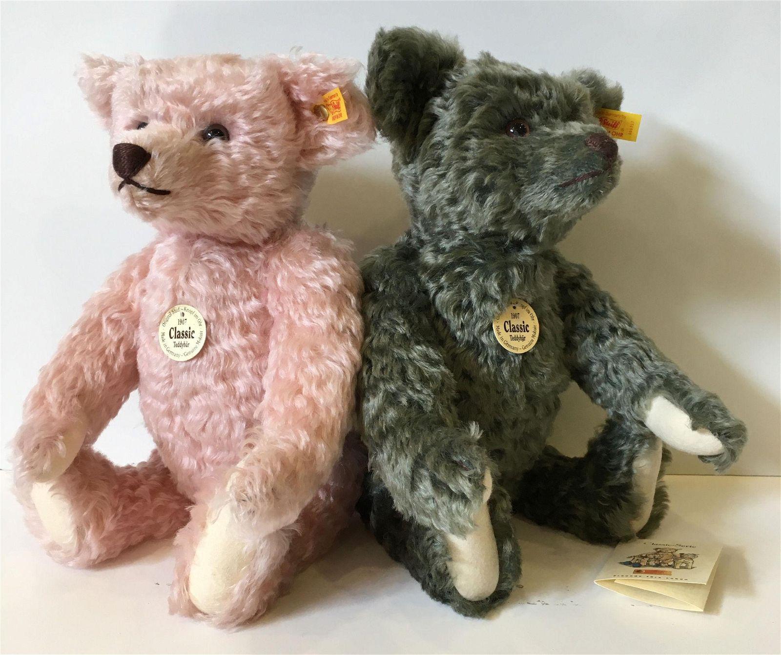 """(2) 14"""" 1907 STEIFF CLASSIC TEDDY BEARS. INCLUDES LODEN"""
