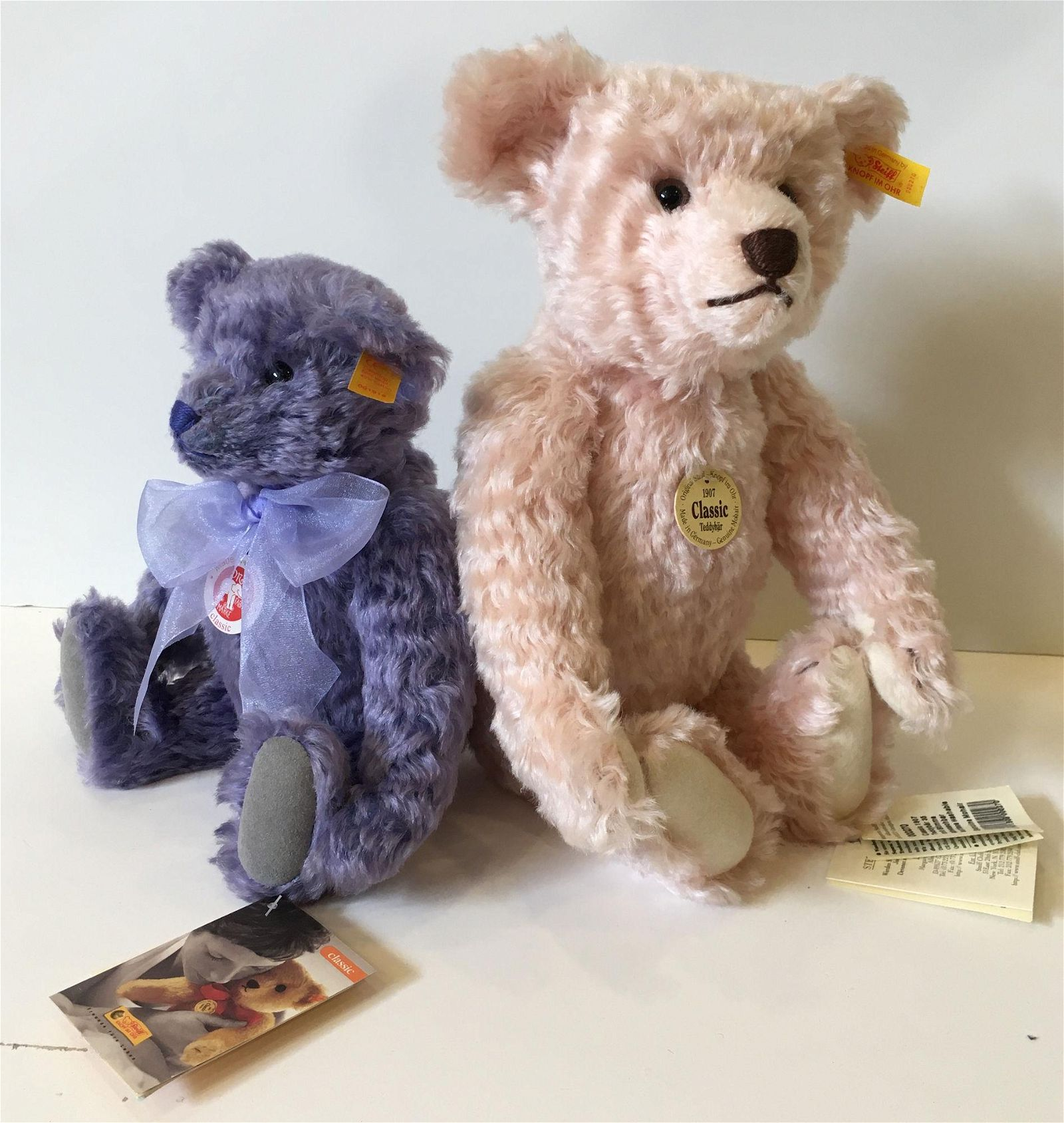 "(2) STEIFF CLASSIC TEDDY BEARS. INCLUDES 14"" CURLY PINK"