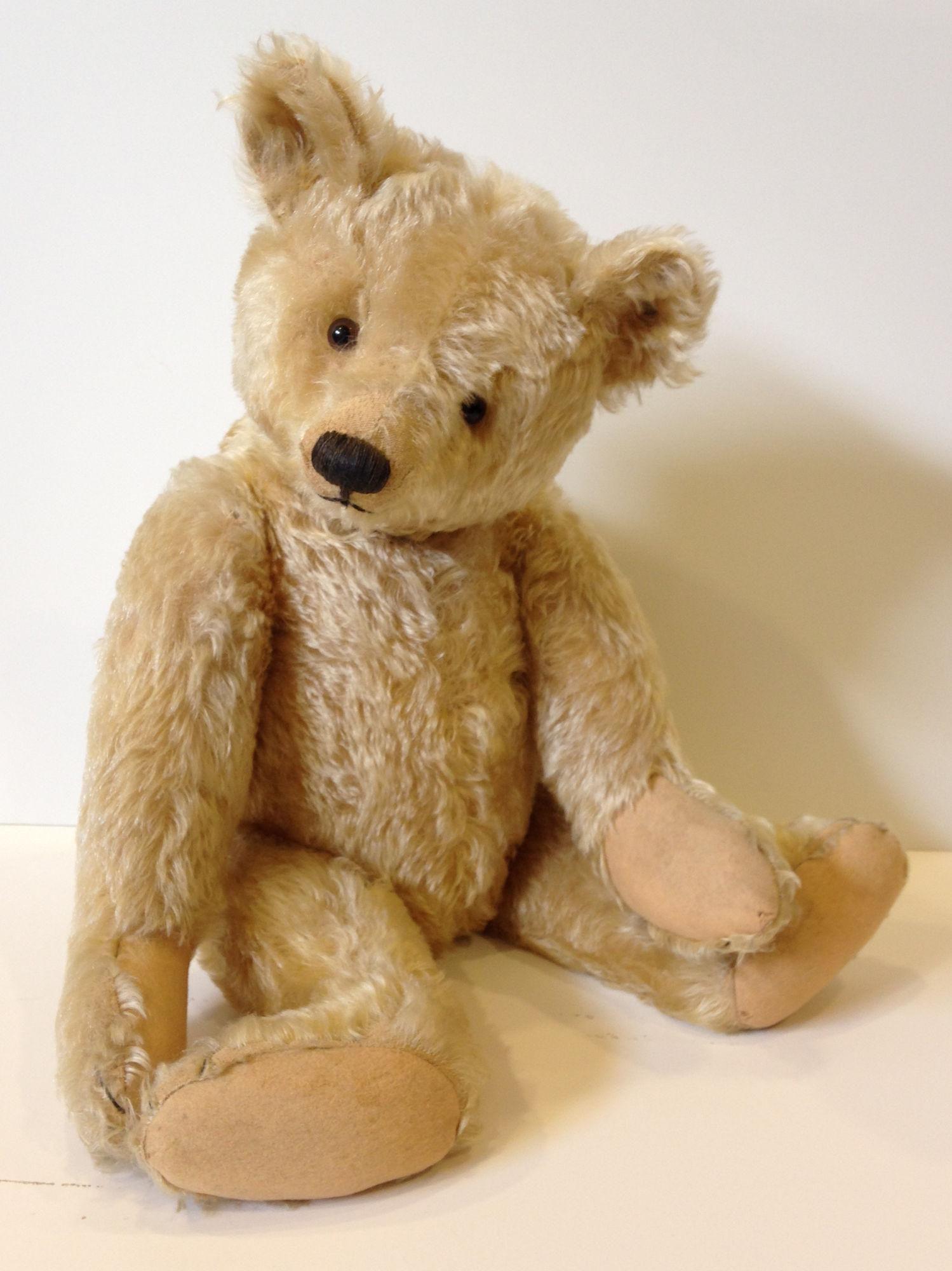"""24"""" CIRCA 1920'S STEIFF TEDDY BEAR. BEIGE MOHAIR,"""