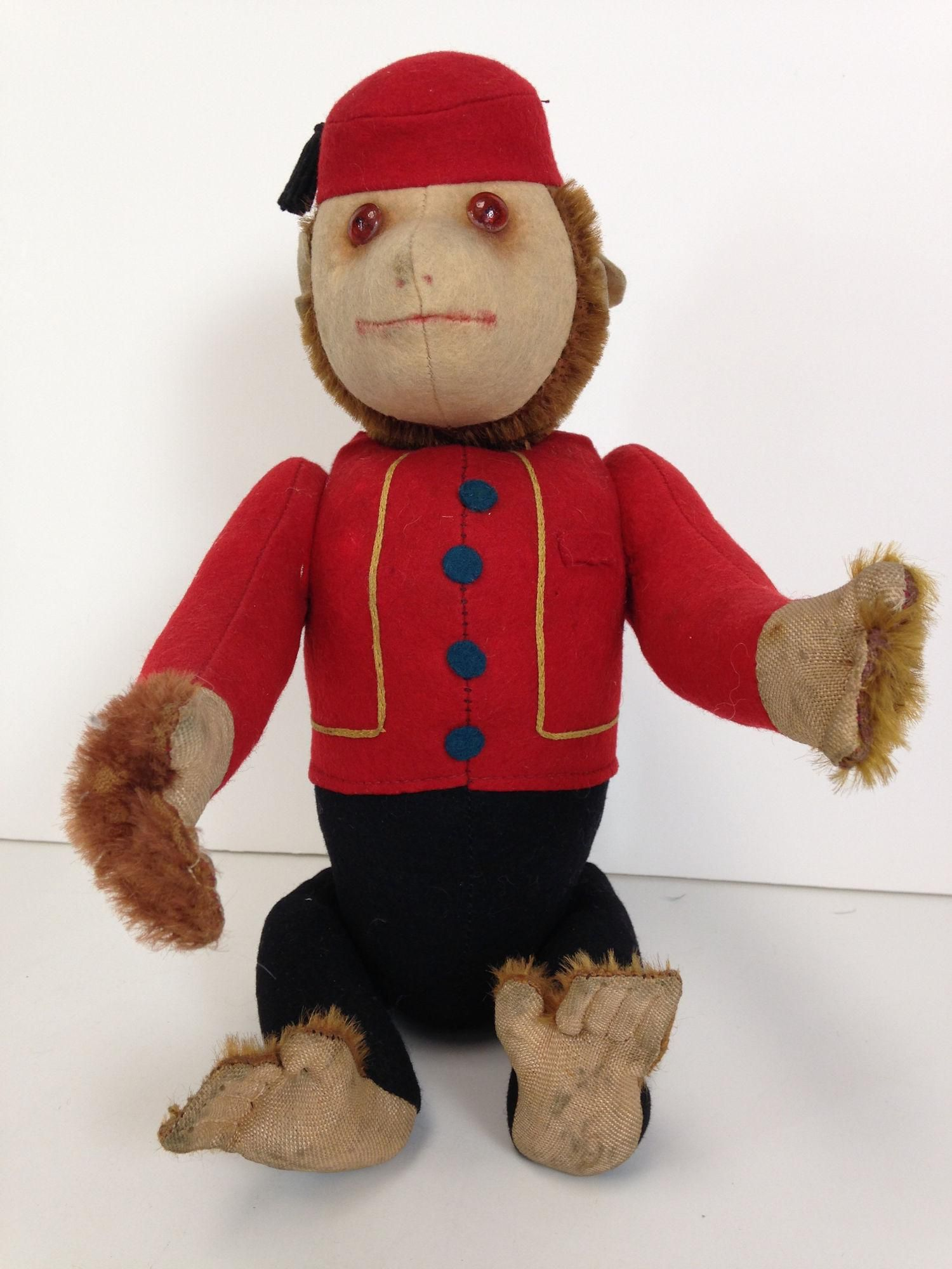 "13"" VINTAGE SCHUCO ""YES-NO"" BELLHOP MONKEY. BROWN"