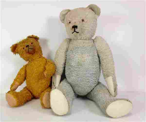 """(2) VINTAGE COTTON PLUSH TEDDY BEARS. 18"""" GOLD AND 26"""""""
