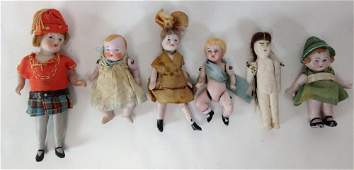(6) SMALL LIKELY GERMAN ALL BISQUE DOLLS WITH PAINTED