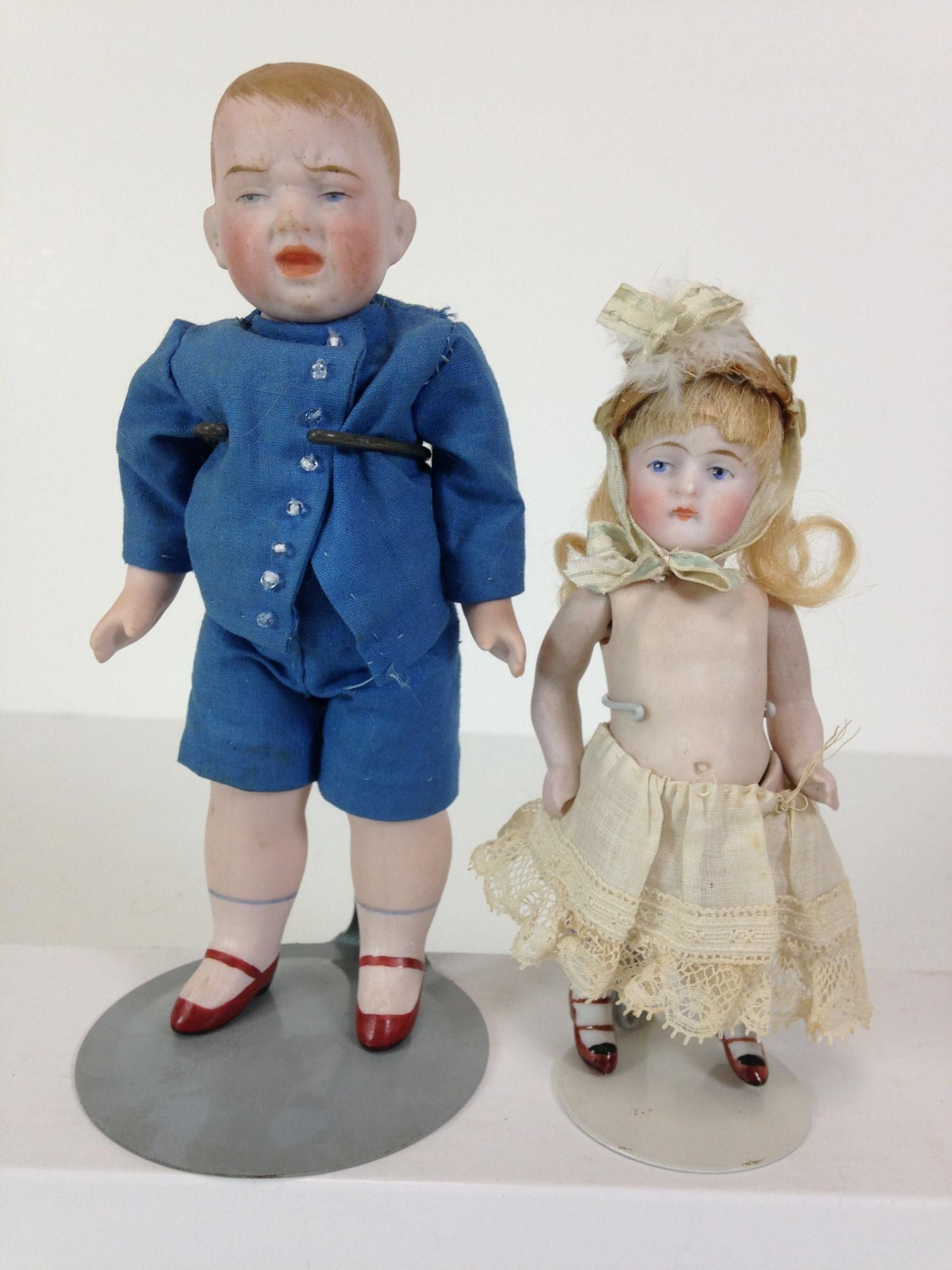 """(2) GERMAN ALL BISQUE DOLLS INCLUDING 7"""" CHARACTER BOY"""