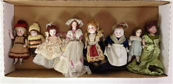 LOT (8) SMALL BISQUE HEAD DOLLS, MOSTLY GERMAN, WITH