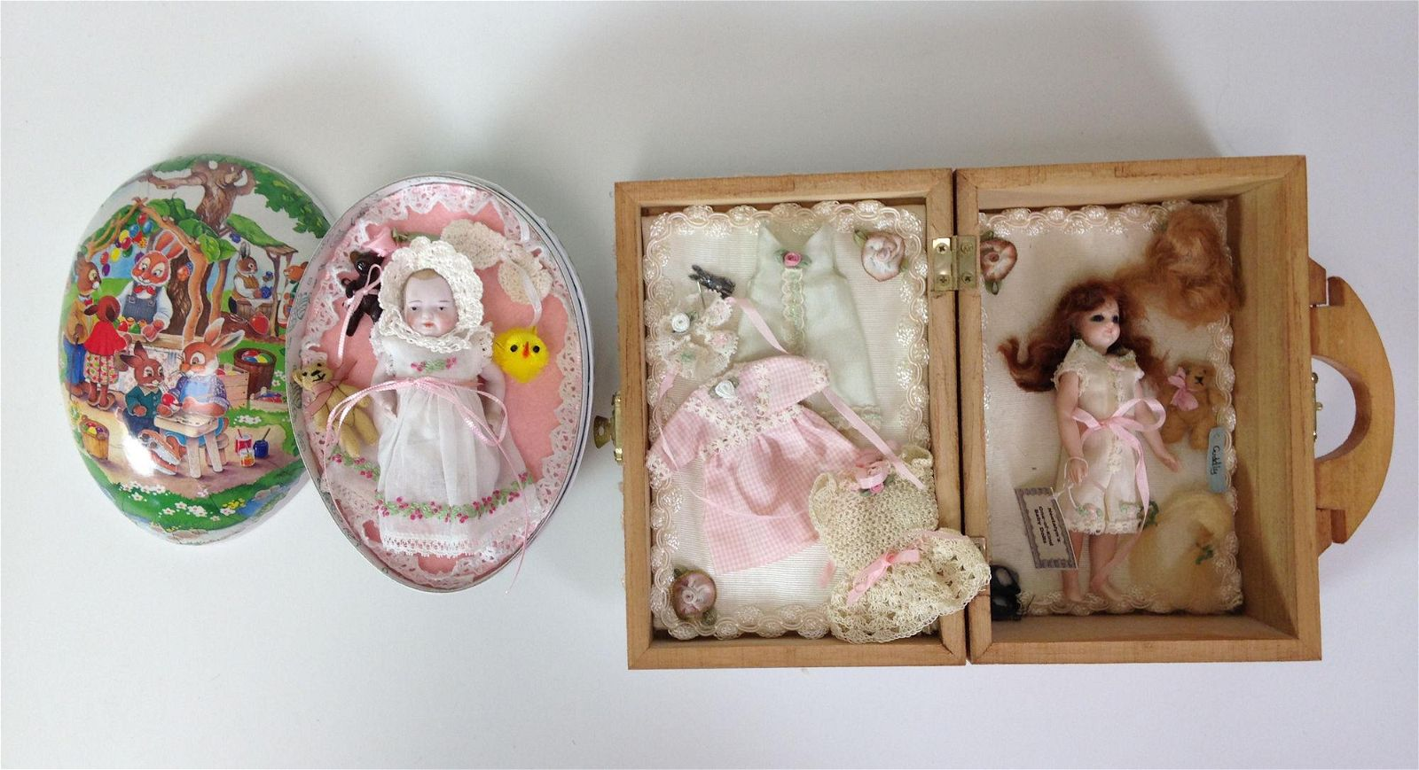"""(2) ARTIST MADE ALL BISQUE DOLLS INCLUDING 4½"""" FRENCH"""