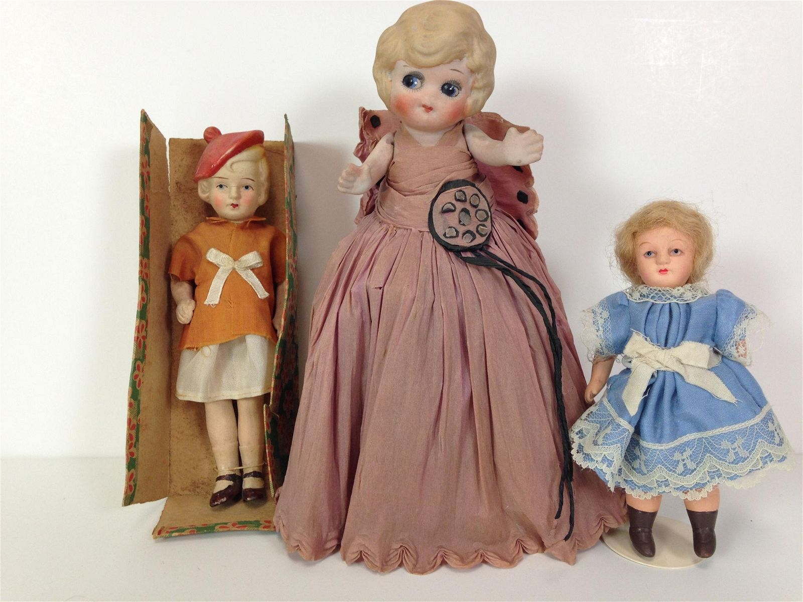 """(3) ALL BISQUE DOLLS WITH PAINTED EYES INCLUDING 6½"""""""