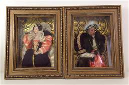 (2) FRAMED WAX HISTORICAL PORTRAIT FIGURES IN SHADOW