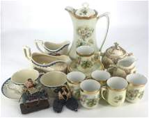 """BOX LOT CHINA INCLUDING PARTIAL TEA SET AND """"OLD IVORY"""""""