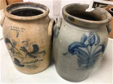 BOX LOT TWO 3GALLON STONEWARE CROCKS ONE MARKED HN