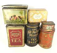 BOX LOT 6 VINTAGE TINS WITH SIGNS OF AGE INCLUDING A