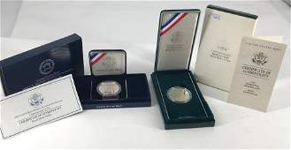 TWO US MINT COMMEMORATIVE SILVER DOLLARS