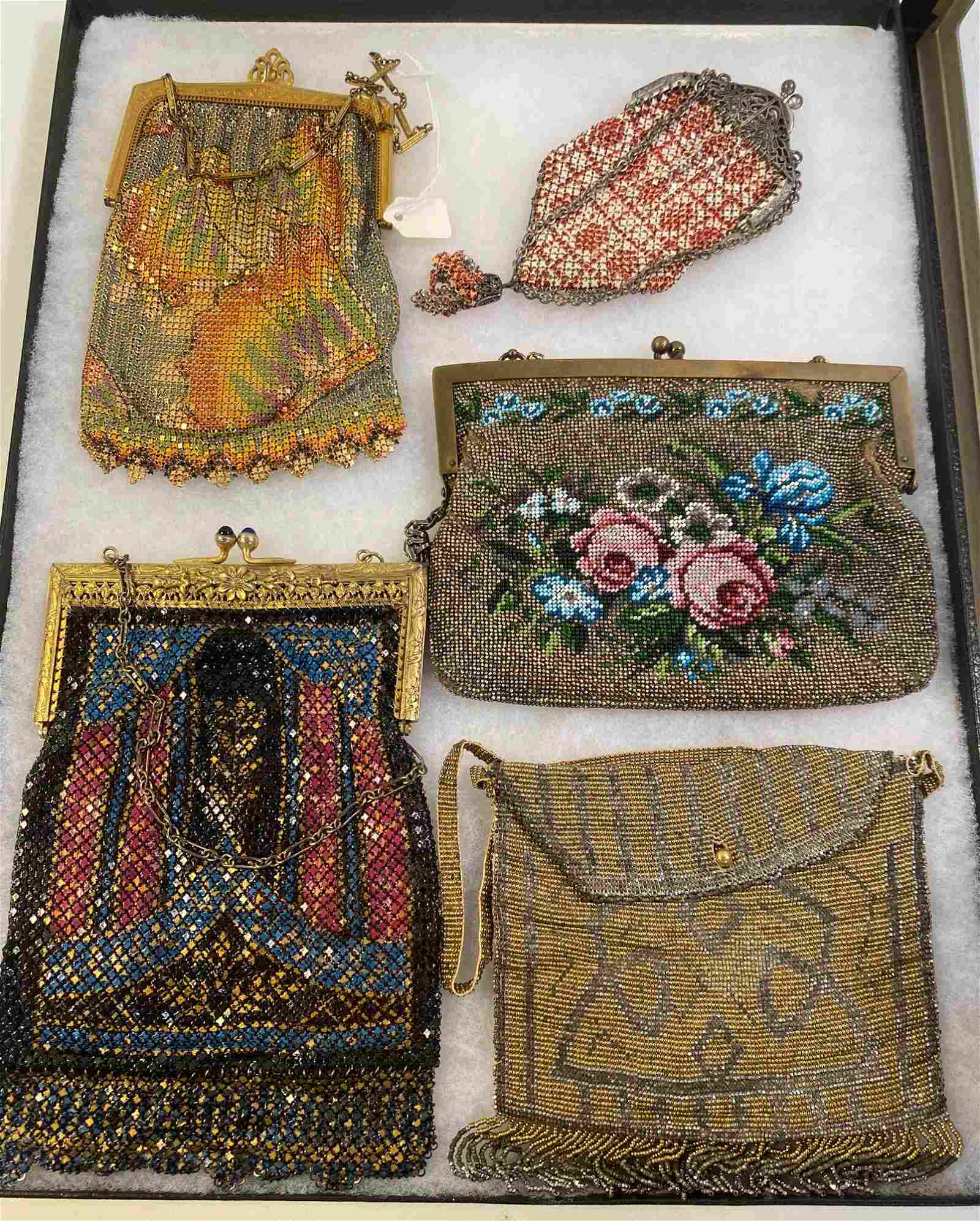 FIVE ANTIQUE/VINTAGE PURSES