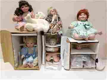 LOT 6 BOXED DOLLS INCLUDING ASHTON DRAKE AND HAMILTON.