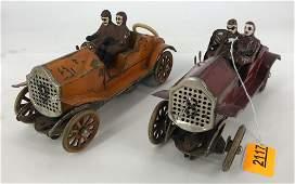 LIONEL PREWAR RACE CAR SET WITH 7 PIECES OF CURVED
