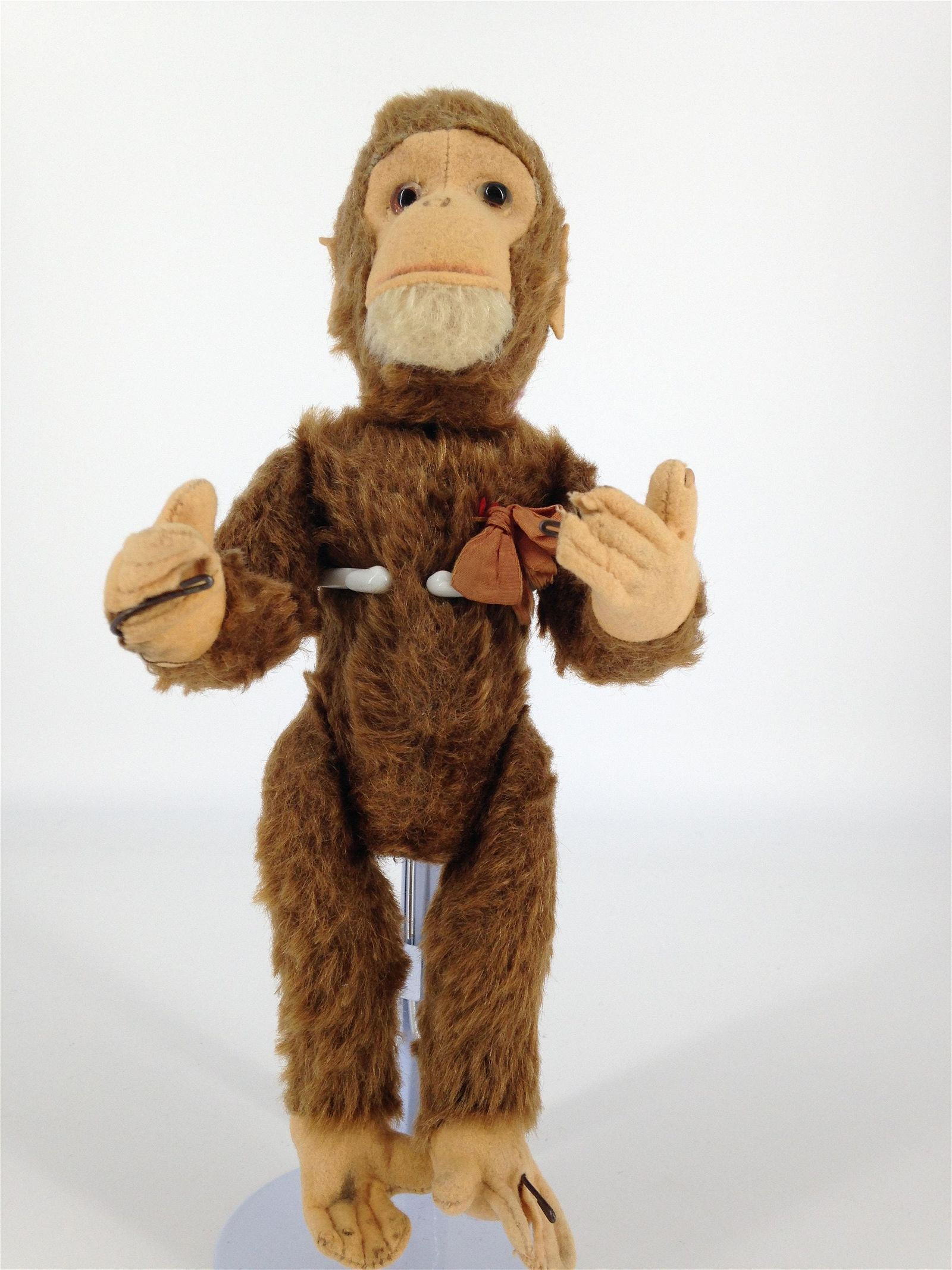 """10"""" SCHUCO YES/NO MONKEY. BROWN MOHAIR WITH FELT FACE"""