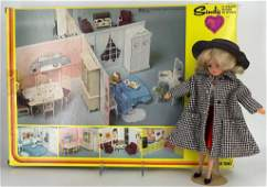 """11"""" vinyl """"Sindy"""" doll by Marx Toys with Scenesetter"""