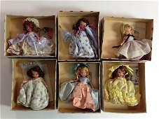 (6) VINTAGE BOXED BISQUE NANCY ANN STORYBOOK DOLLS -