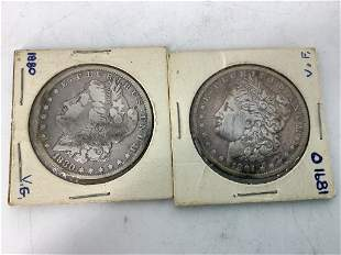 Two US Silver Dollar Coins