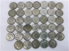 Forty 40% Silver Kennedy Half Dollar Coins