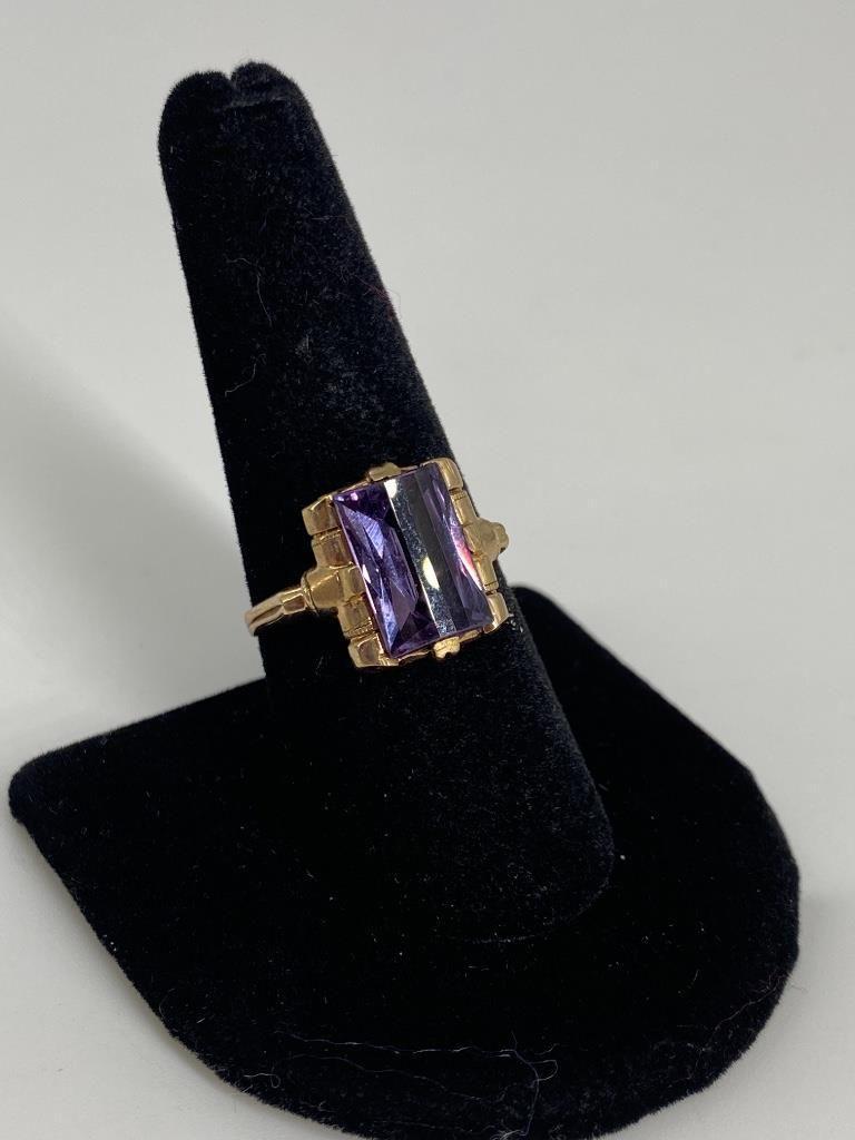 Vintage 10kt Yellow Gold & Gemstone Ring - size 9,
