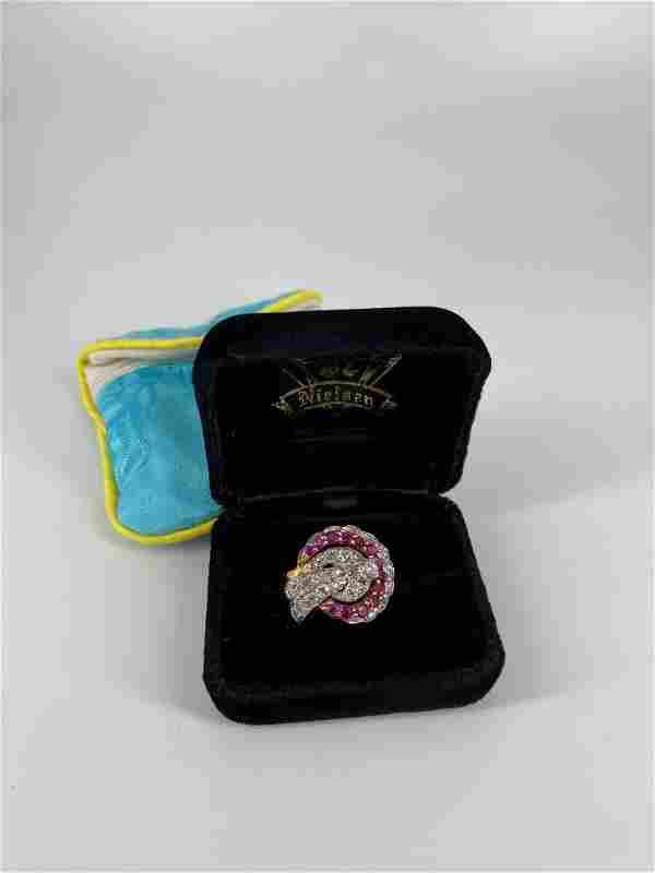 Stunning Vintage Diamond & Pink Sapphire Cocktail Ring
