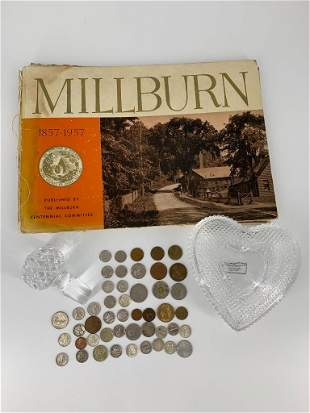 Lot of U.S. + Foreign Coins, Millburn Township Book and