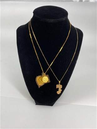 Two Necklaces With Gold And Gold Filled Pendants