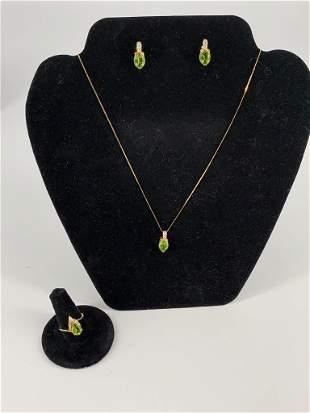 14kt Yellow Gold & Peridot Jewelry Set