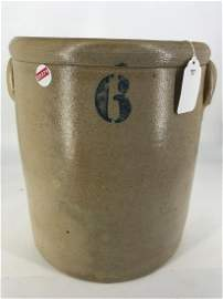 6-GAL. TWO-HANDLED CROCK WITH BROWN GLAZE INTERIOR.
