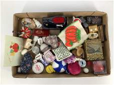 Large box lot of misc sewing items including pottery