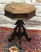 WALNUT VICTORIAN OCTAGONAL LIFT LID SEWING TABLE 20.5""