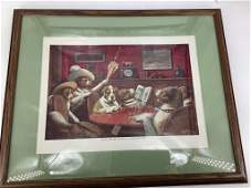 4 framed pictures depicting dogs playing poker