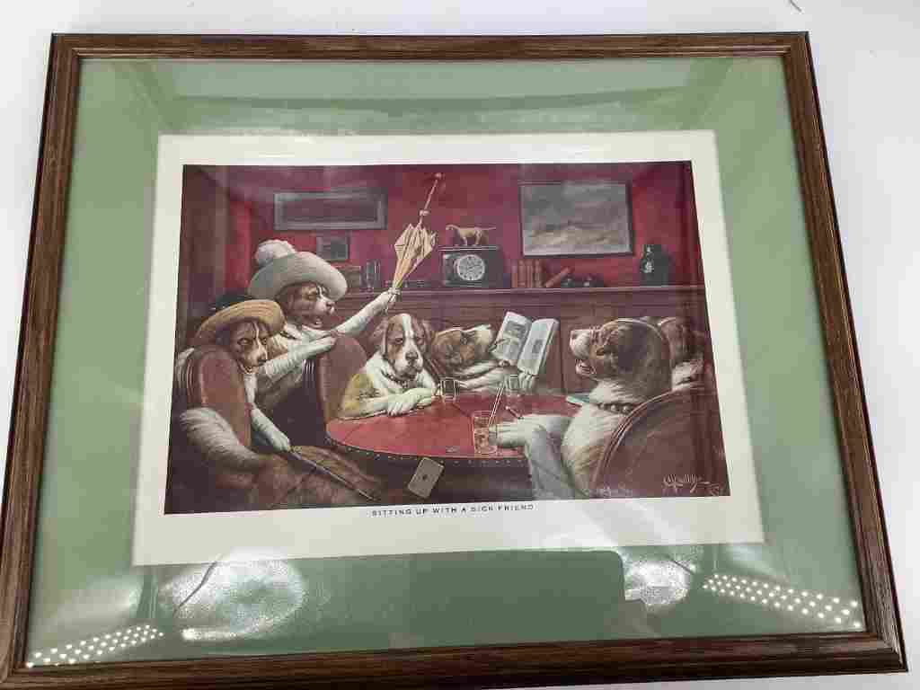 4 framed pictures depicting dogs playing poker.